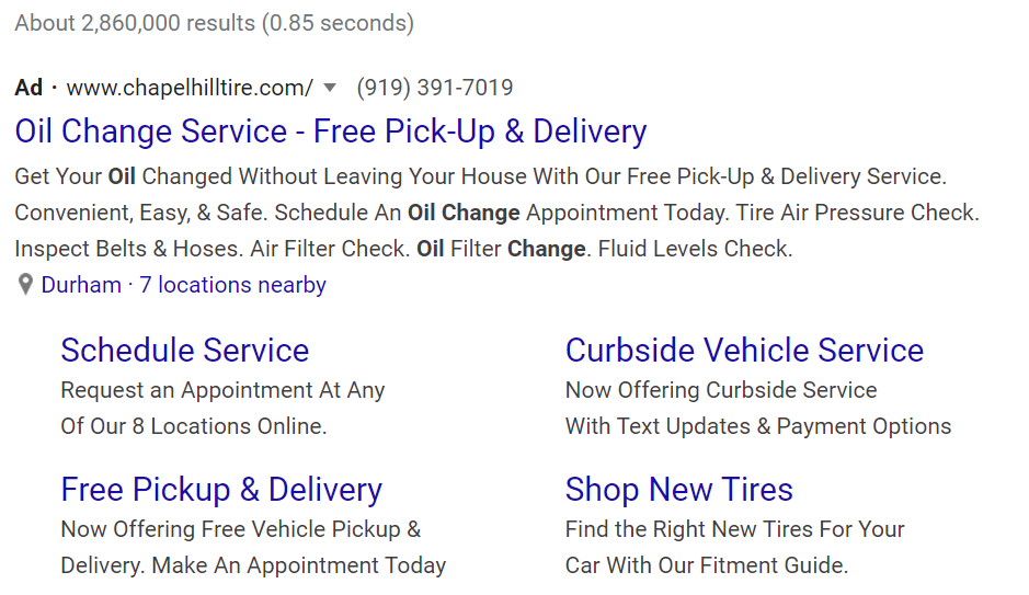 Oil change google PPC ad