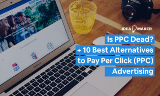 """A computer with an ad on it to show the topic of the post is """"Is PPC Dead"""""""