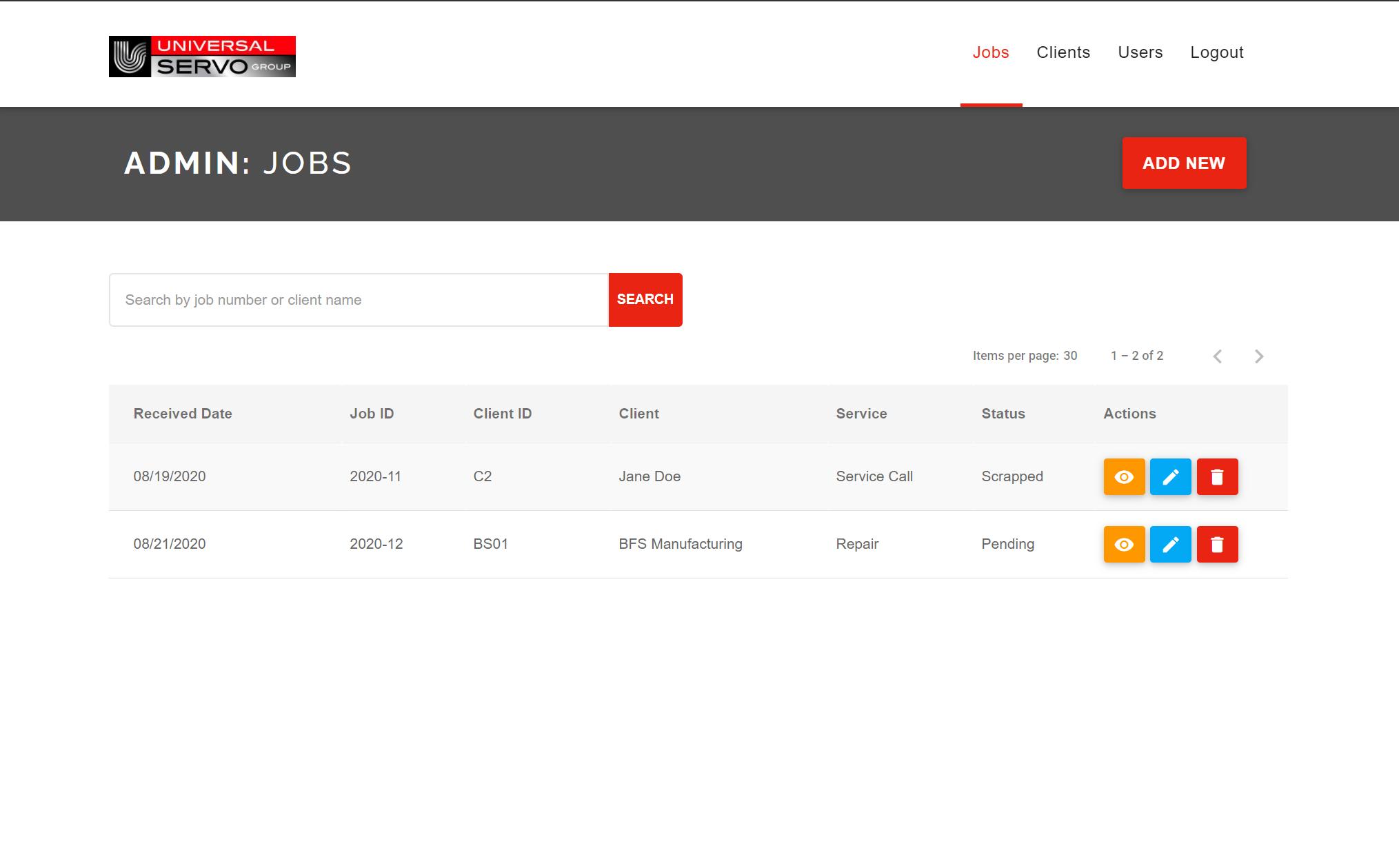 Screenshot of the custom middleware solution for Universal Servo