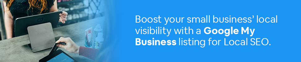 A person buying something at a local store with the words: Boost your business' local visibility with a Google My Business listing for Local SEO.