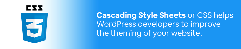 CSS logo with text: Cascading Style Sheets or CSS helps WordPress developers to improve the theming of your website.