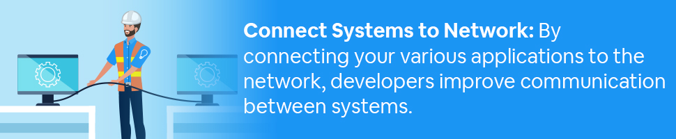 A construction worker pulling cable from one computer to another with text: Connect Systems to Network: By Connecting your various applications to the network, developers improve communication between systems