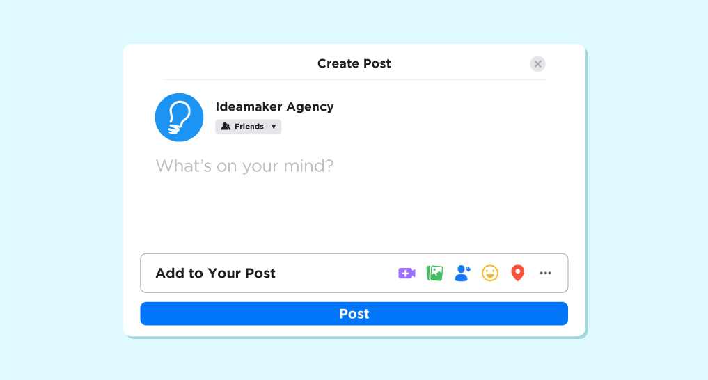 Facebook create a post screen with Idea Maker on the screen