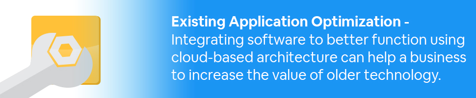 A box with a wrench and a nut, with text: Existing Application Optimization - Integrating software to better function using cloud-based architecture can help a business to increase the value of older technology.
