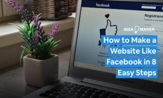 A computer on Facebook text: How to Make a Website Like Facebook in 8 Easy Steps