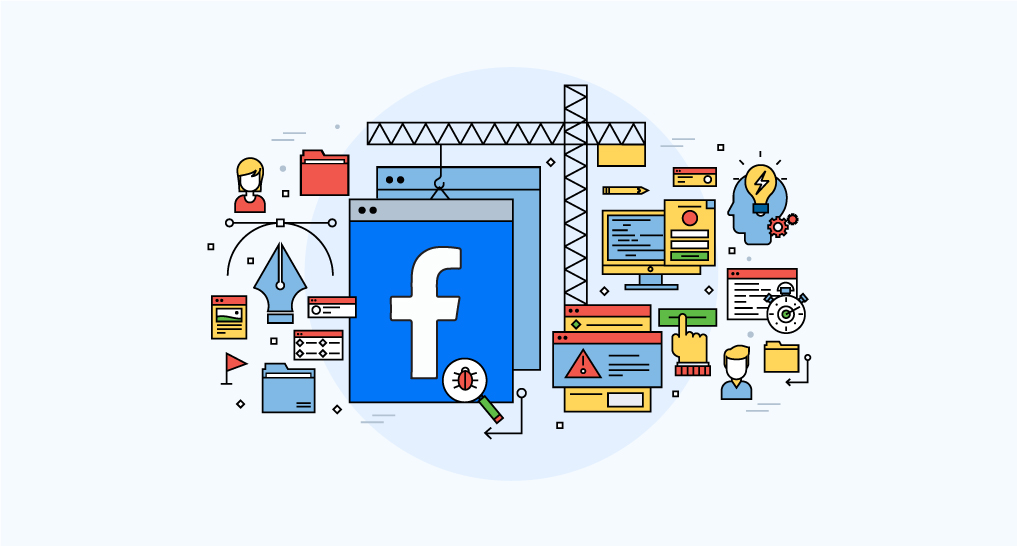 A group of construction equipment building a website like Facebook with the facebook logo