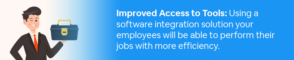 A business person holding a toolbox with text: Improved Access to Tools: Using a software integration solution, your employees will be able to perform their jobs with more efficiency.