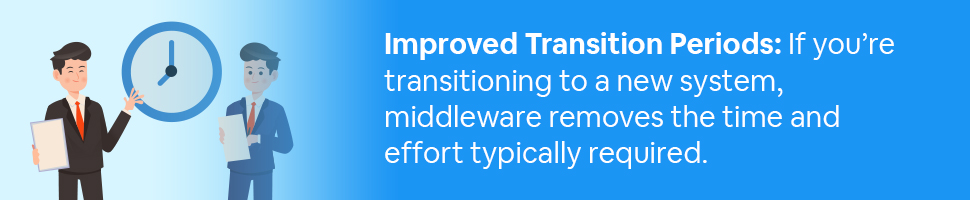 Two business persons standing around a clock with text: Improved Transition Periods: If you're transitioning to a new system, middleware removes the time and effort typically required.