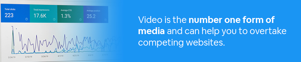 Data on a screen with text: Video is the number one form of media and can help you to overtake competing websites.