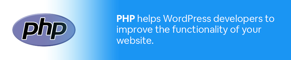PHP logo with text: PHP helps WordPress developers to improve the functionality of your website.
