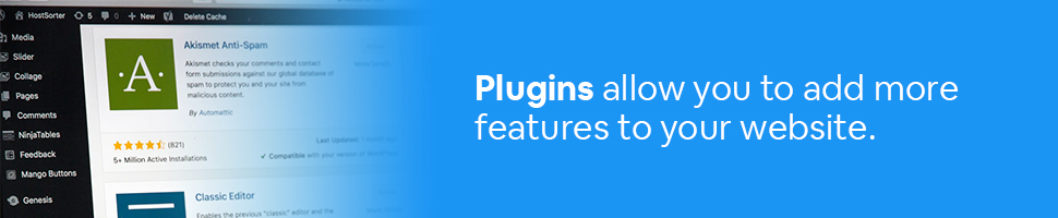 An example of a plugin on a computer with the text: Plugins allow you to add more features to your website.