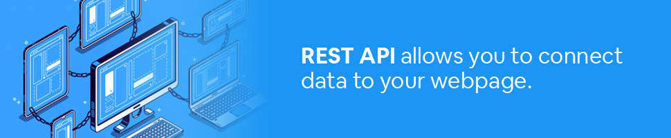 A bunch of interconnected computers with the text: REST API allows you to connect data to your webpage.