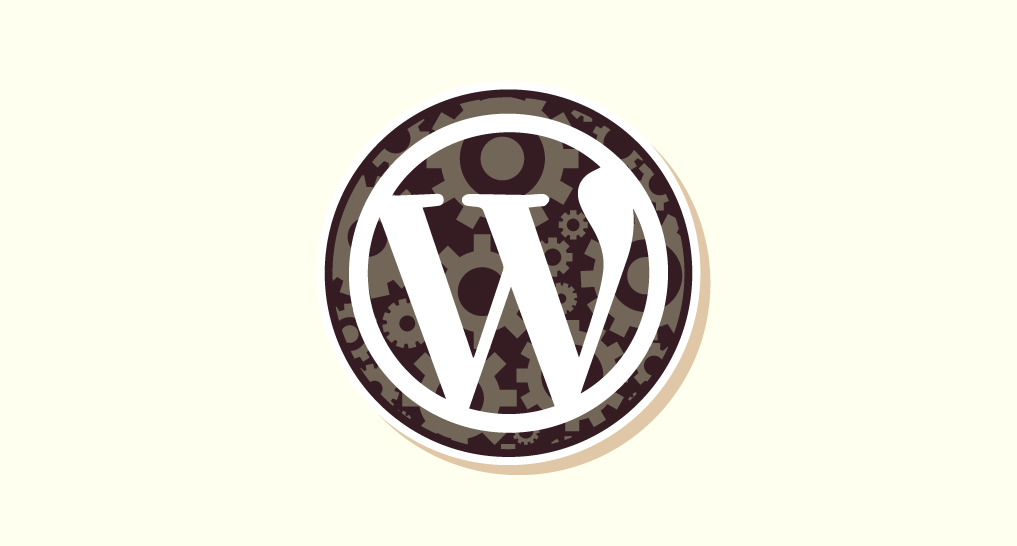the WordPress logo with cogs behind it to show that this section is about how WordPress works.