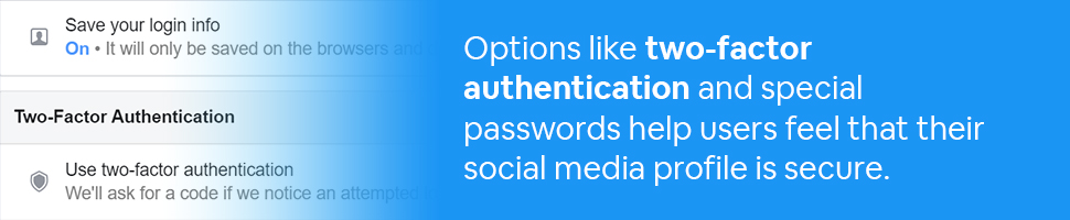 Two factor authentication radio button with text: Options like two-factor authentication and special passwords help users feel that their social media profile is secure.