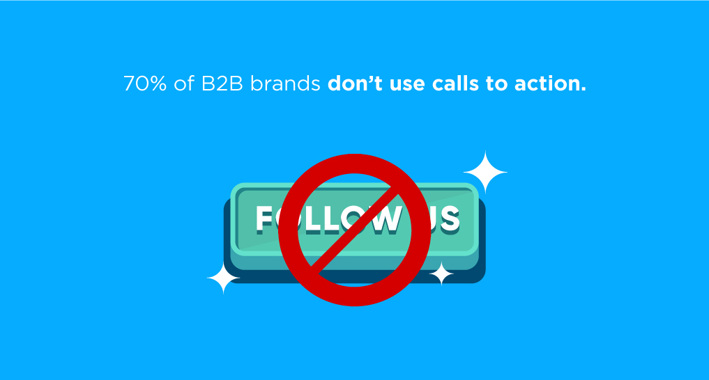A no symbol around a Follow Us button with text: 70% of B2B brands don't use calls to action.