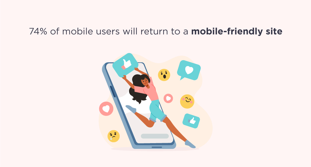 A woman jumping out of a smartphone with text: 74% of mobile users will return to a mobile-friendly site.