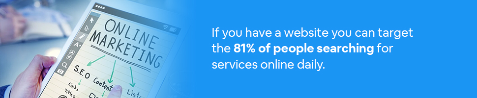 A person looking at a tablet that says Online Marketing with text: If you have a website you can target the 81% of people searching for services online daily.