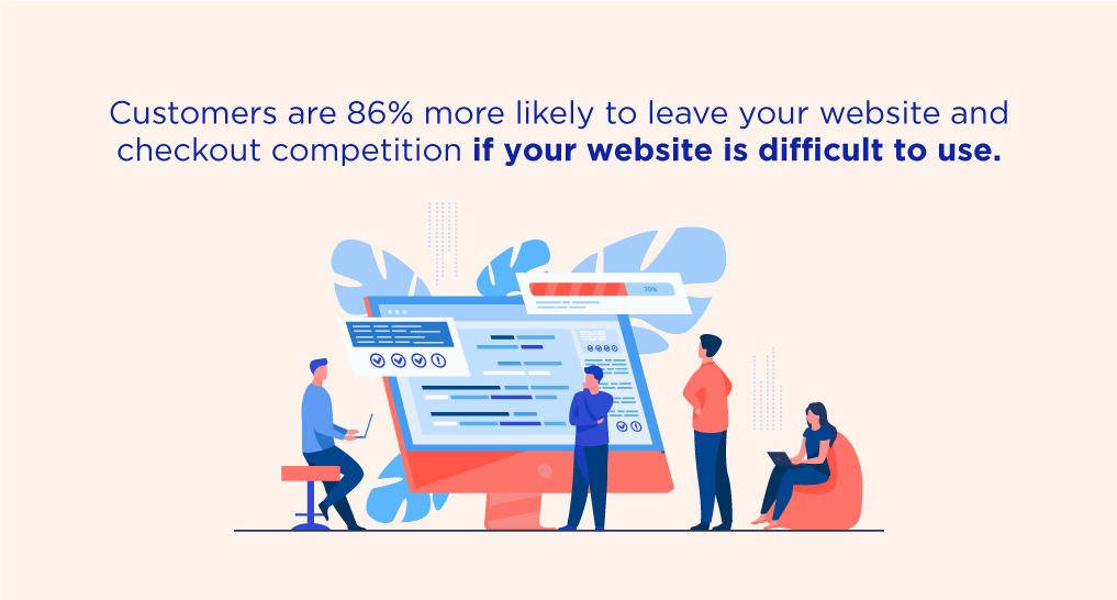 People standing around a big computer screen with text: Customers are 86% more likely to leave your website and checkout competition if your website is difficult to use.