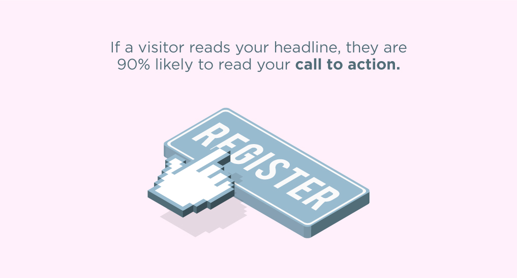 A finger clicking on a button that says Register with text: If a visitor reads your headline, they are 90% likely to read your call to action.