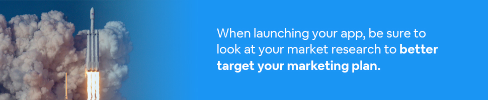 A rocket launching into outer space with text: When launching your app, be sure to look at your market research to better target your marketing plan.