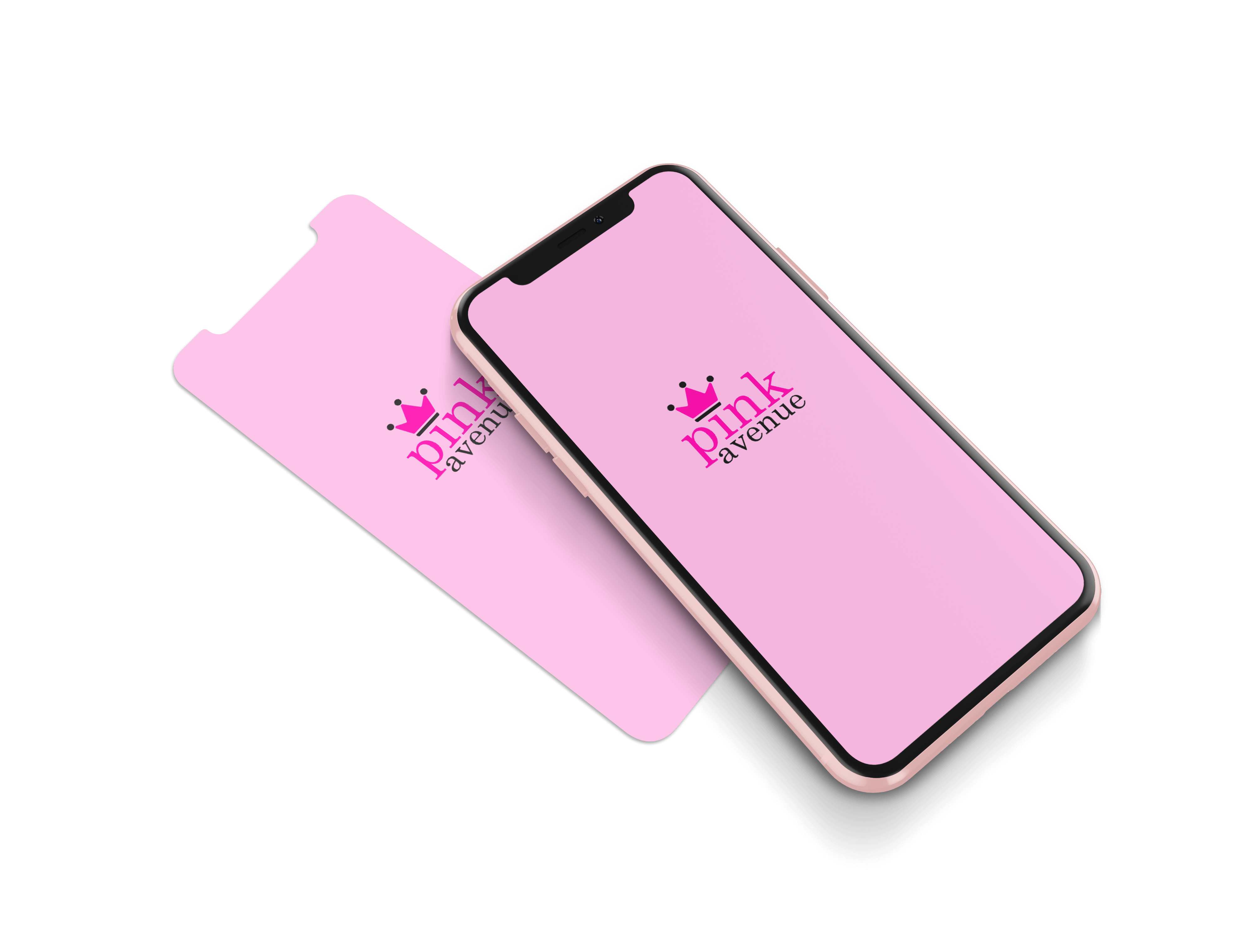 The main image of Pink Avenue Beauty's custom app on a phone