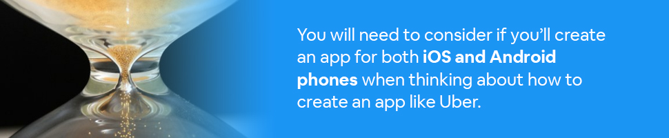 Hourglass with text: You will need to consider if you'll create an app for both iOS and Android phones when thinking about how to create an app like Uber.