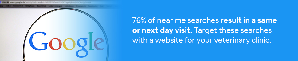 The Google Search page with a magnifying glass around it with text: 76% of near me searches result in same or next day visit. Target these searches with a website for your veterinary clinic.