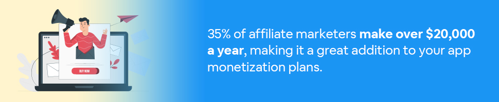 A person with a megaphone coming out of a laptop with text: 35% of affiliate marketers make over $20,000 a year, making it a great addition to your app monetization plans.