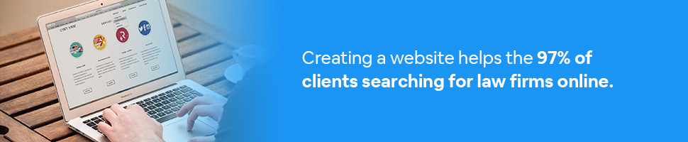 A person looking at a website conducting a search with text: Creating a website helps the 97% of clients searching for law firms online.