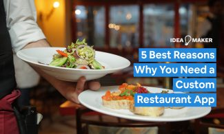 A server holding two delicious dishes with Text: 5 Best Reasons Why You Need a Custom Restaurant App