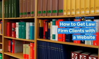 A stack of legal books with text: How to Get Law Firm Clients with a Website