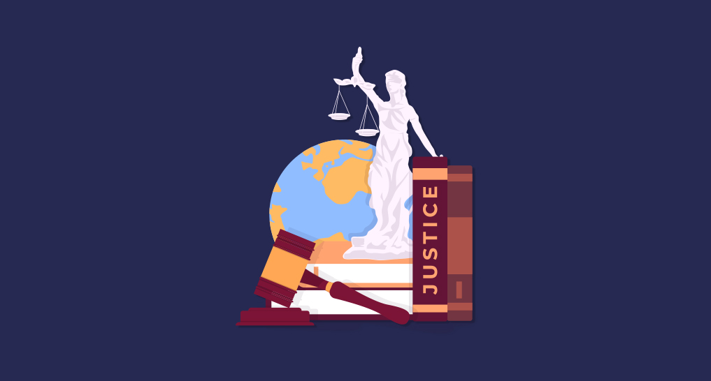 Lady Justice with some legal books and the world behind her