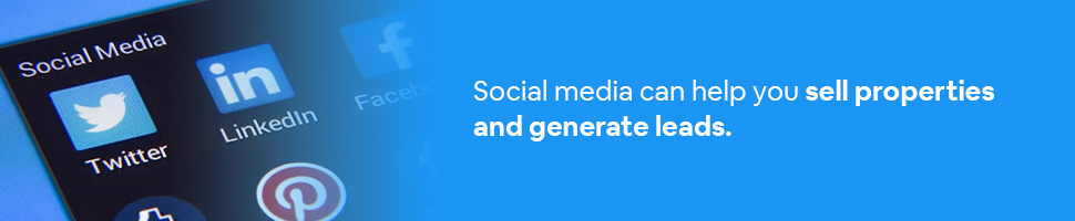 Social Media accounts with text: Social media can help you sell properties and generate leads.
