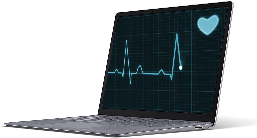A laptop with a cardiogram on it