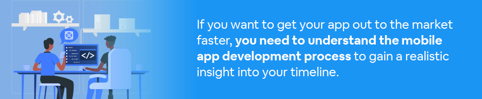 Two people sitting in front of a computer with an app box in a chat bubble with text: If you want to get your app out to the market faster, you need to understand the mobile app development process to gain a realistic insight into your timeline.