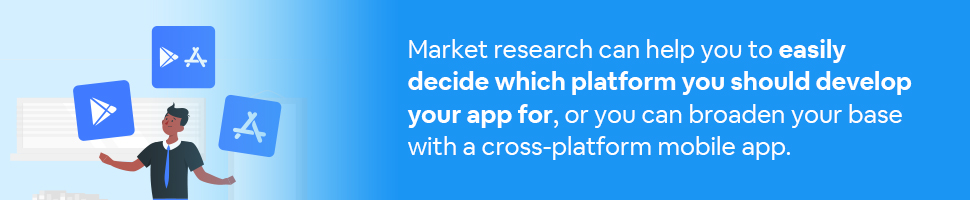 A man juggling 3 app boxes with the google play and apple app store logos on them with text: Market research can help you to easily decide which platform you should develop your app for, or you can broaden your base with a cross-platform app.
