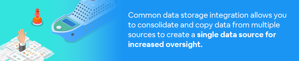 a hand drowning in papers and a big boat is coming to rescue them with text: Common data storage integration allows you to consolidate and copy data from multiple sources to create a single data source for increased oversight.