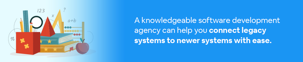 A bunch of books and an abacus with text: A knowledgeable software development agency can help you connect legacy systems to newer systems with ease.