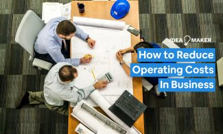 A team working at a desk with text: How to Reduce Operating Costs in Business