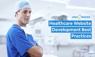 A doctor in an office with text: Healthcare Website Development Best Practices.