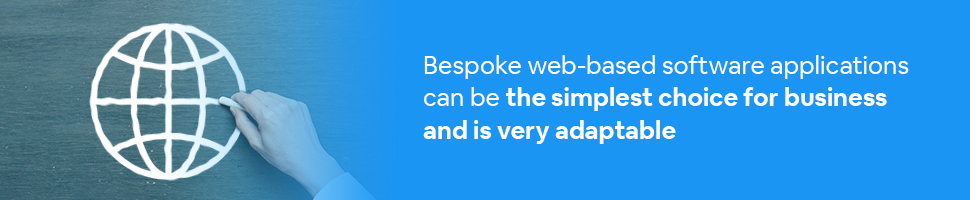 A web development icon drawn on a chalkboard with text: Bespoke web-based software applications can be the simplest choice for business and is very adaptable.