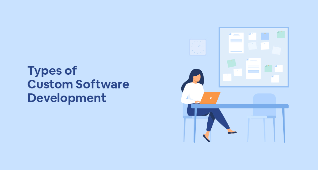 A woman custom software developer sitting at a desk with text: Types of Custom Software Development