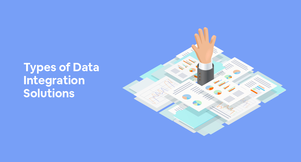 a man drowning in data with his hand reaching out for help with text: Types of Data Integration Solutions