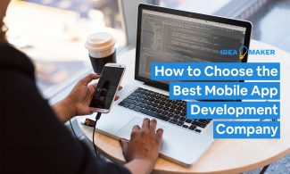 Alt-Text: A woman app developer looking at a smartphone and laptop with text: How to Choose the Best Mobile App Development Company