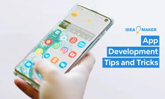 Someone holding an app with text: App Development Tips and Tricks